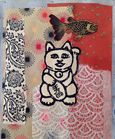 Gatewood_Lucky Cat with Fish_Mixed Media Paper_2013