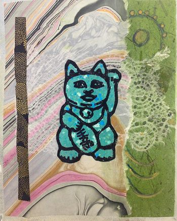 Gatewood_Lucky Cat, blue_Mixed Media Paper_2013