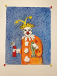 Clown with fish